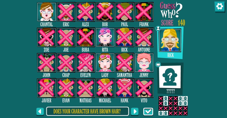 Guess Who Board Game Screenshot.