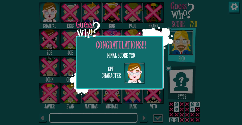 Guess Who Board Game Won Screenshot.