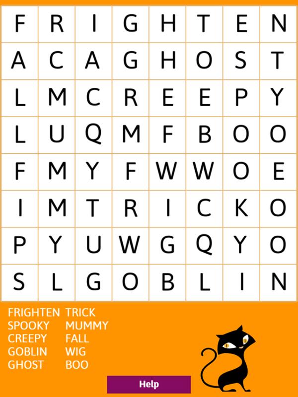 Halloween Word Search Game Start Screenshot.