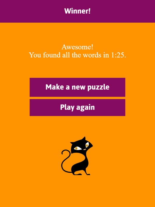 Halloween Word Search Game Word Search Result Screenshot.