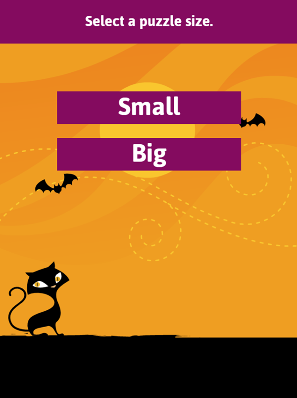 Halloween Word Search Game Select Puzzle Size Screenshot.