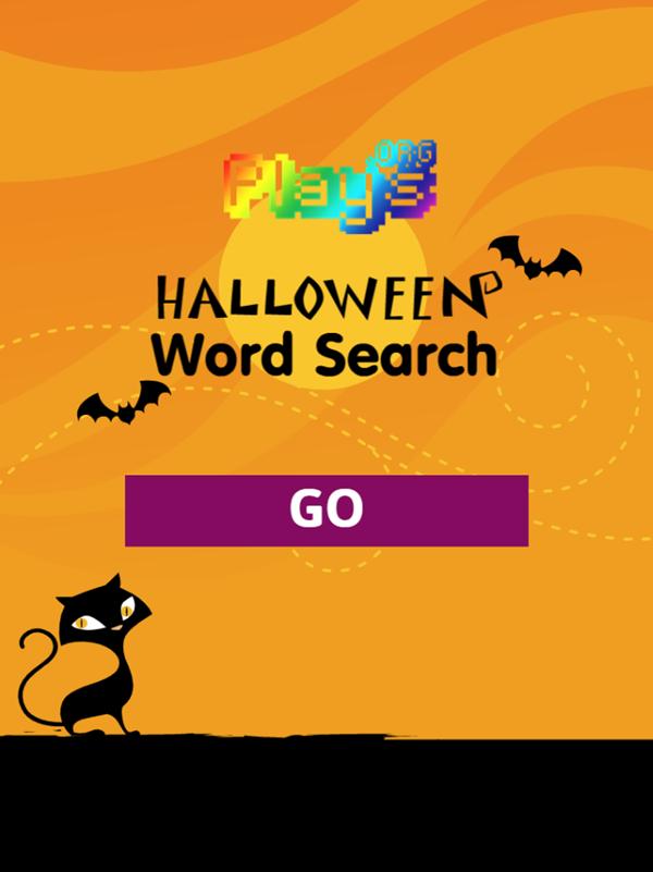 Halloween Word Search Game Welcome Screen Screenshot.