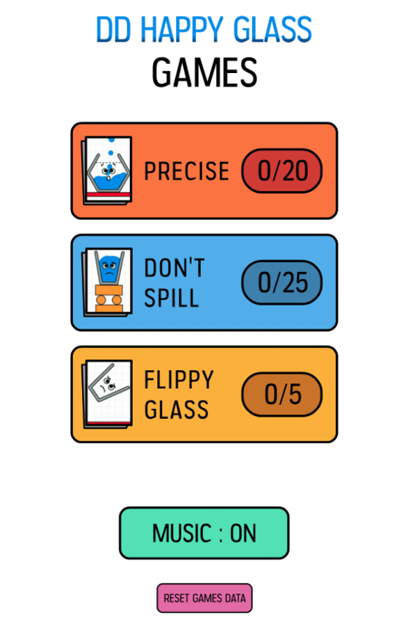 Happy Glass Game Welcome Screenshot.