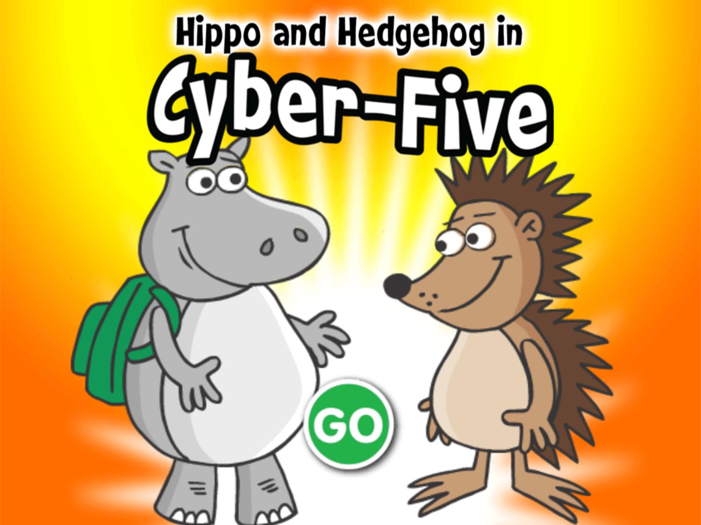 Hippo and Hedgehog in Cyber Five Game Welcome Screen Screenshot.