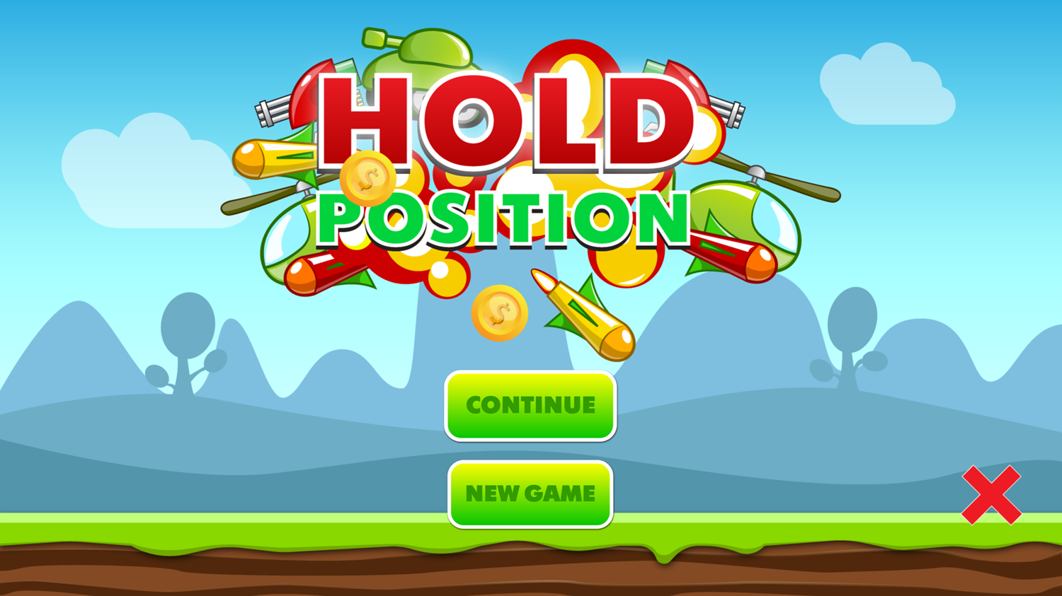 Hold Position Game Welcome Screenshot.
