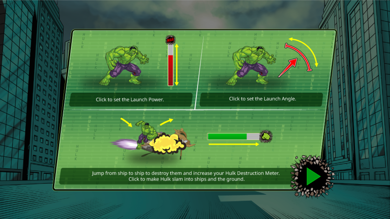 Incredible Hulk Chitauri Takedown Game Instructions Screen Screenshot.