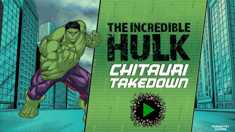Incredible Hulk Chitauri Takedown Game Welcome Screen Screenshot.