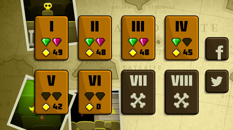 Indiara and the Skull Gold Level Select Screenshot.
