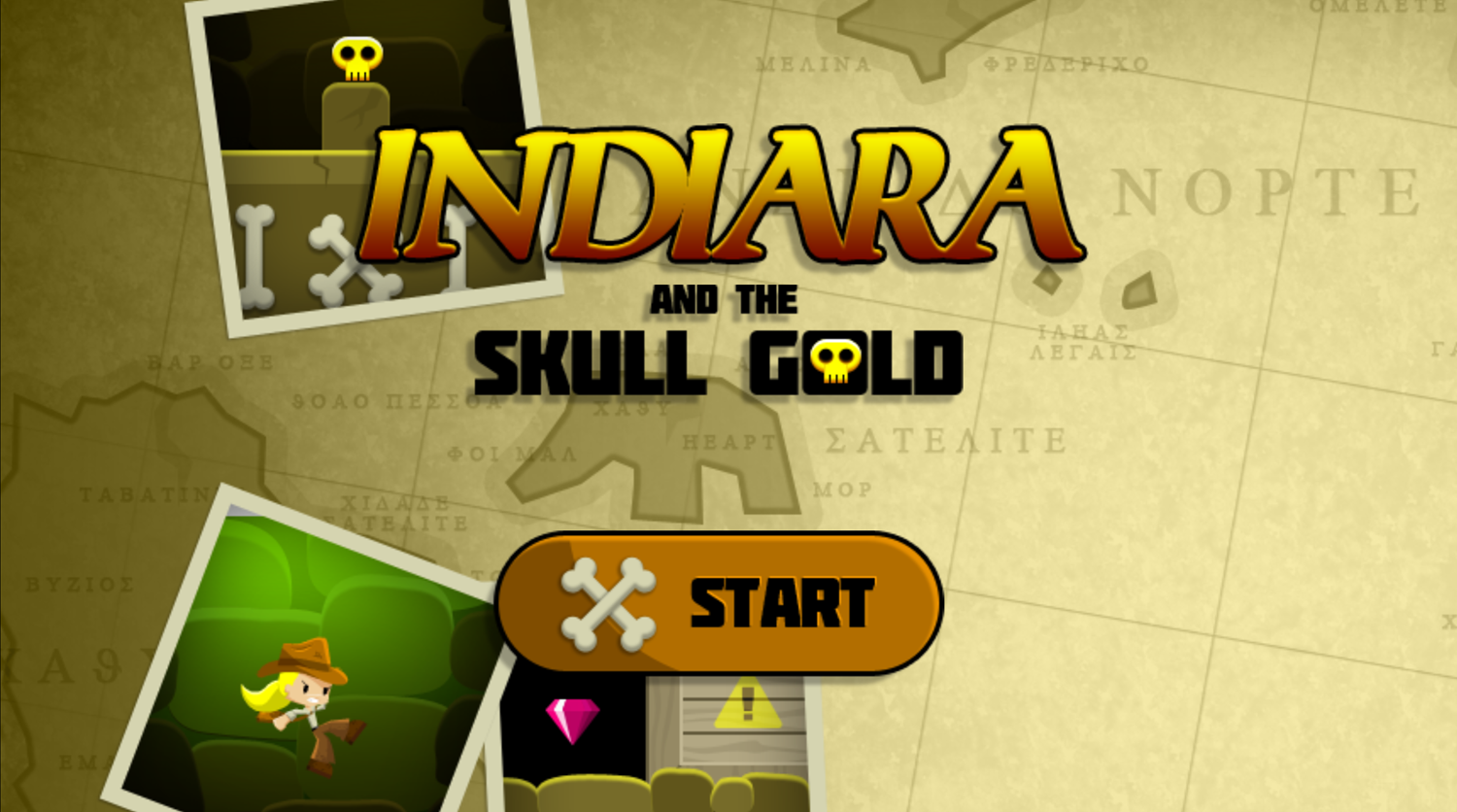 Indiara and the Skull Gold Game Welcome Screenshot.