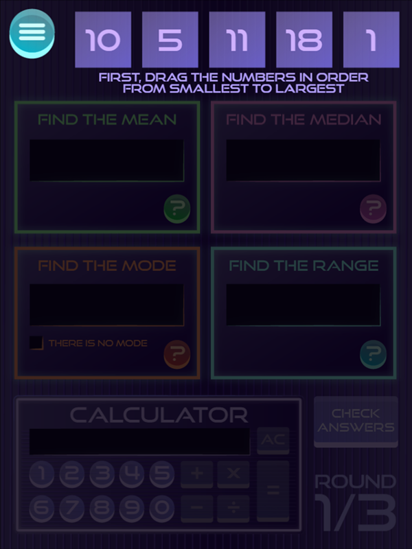 It's Glow Time Mean Median Mode and Range Game Arrange Numbers Screenshot.