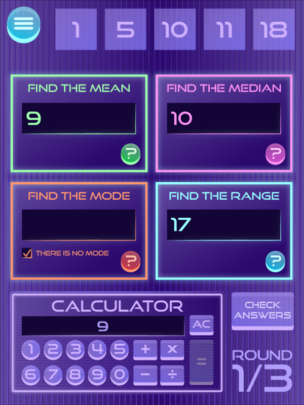 It's Glow Time Mean Median Mode and Range Check Answers Screenshot.