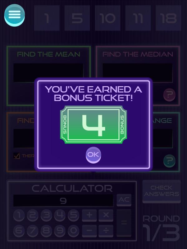 It's Glow Time Mean Median Mode and Range Game Bonus Ticket Screenshot.