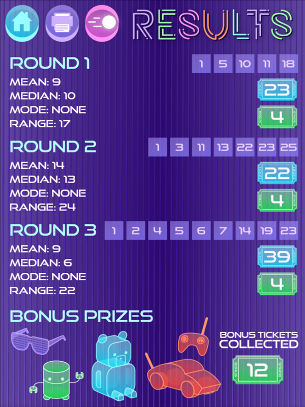 It's Glow Time Mean Median Mode and Range Game Results Screenshot.