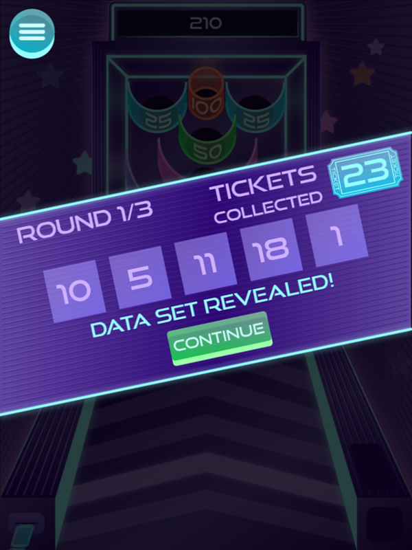 It's Glow Time Mean Median Mode and Range Game Round Complete Screenshot.