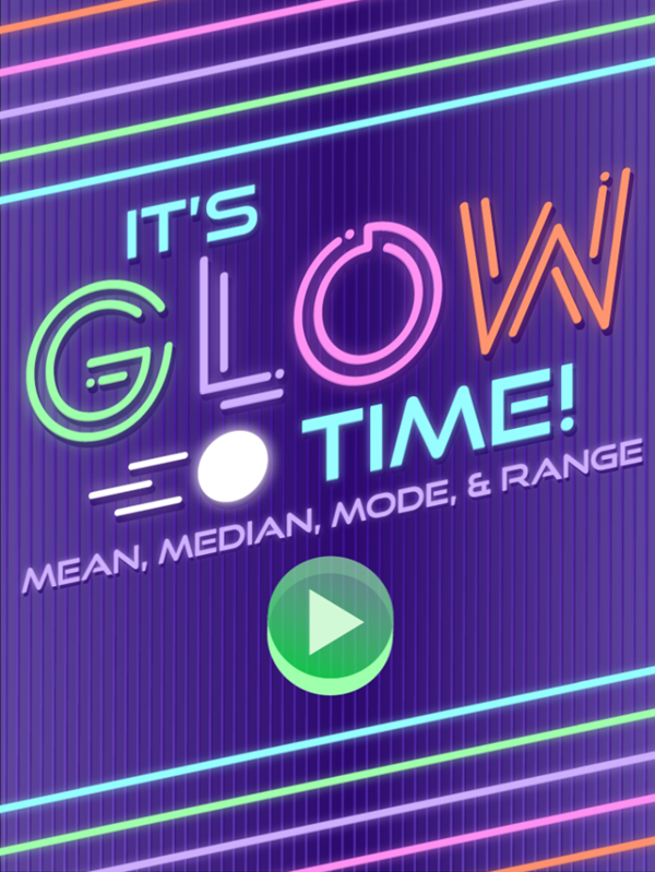 It's Glow Time Mean Median Mode and Range Game Welcome Screen Screenshot.
