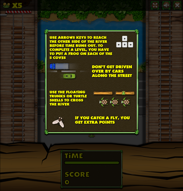 Jumper Frog Game Instructions Screenshot.