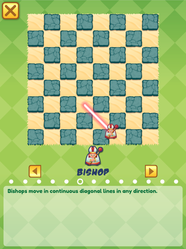 Junior Chess Bishop Movement Instructions Screenshot.