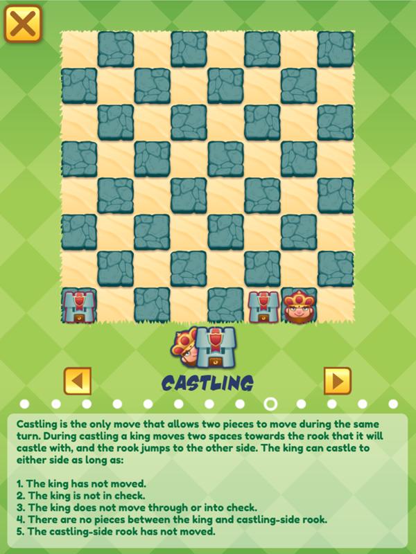 Junior Chess Castling Movement Instructions Screenshot.