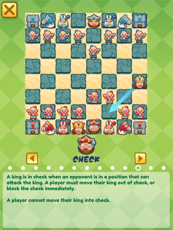 Junior Chess Check Instructions Screenshot.