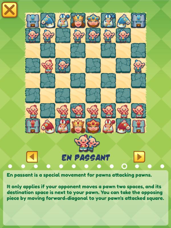 Junior Chess En Passant Movement Instructions Screenshot.
