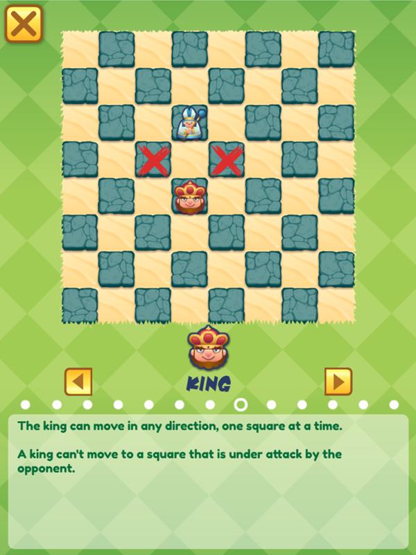Junior Chess King Movement Minstructions Screenshot.