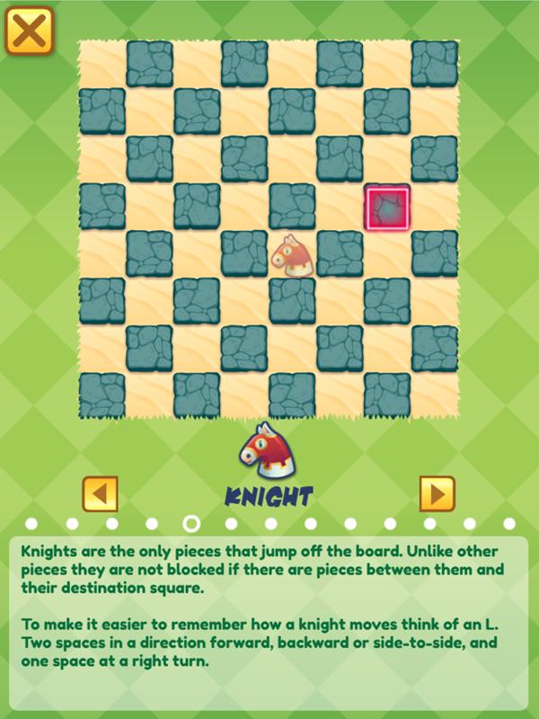 Junior Chess Knight Movement Instructions Screenshot.