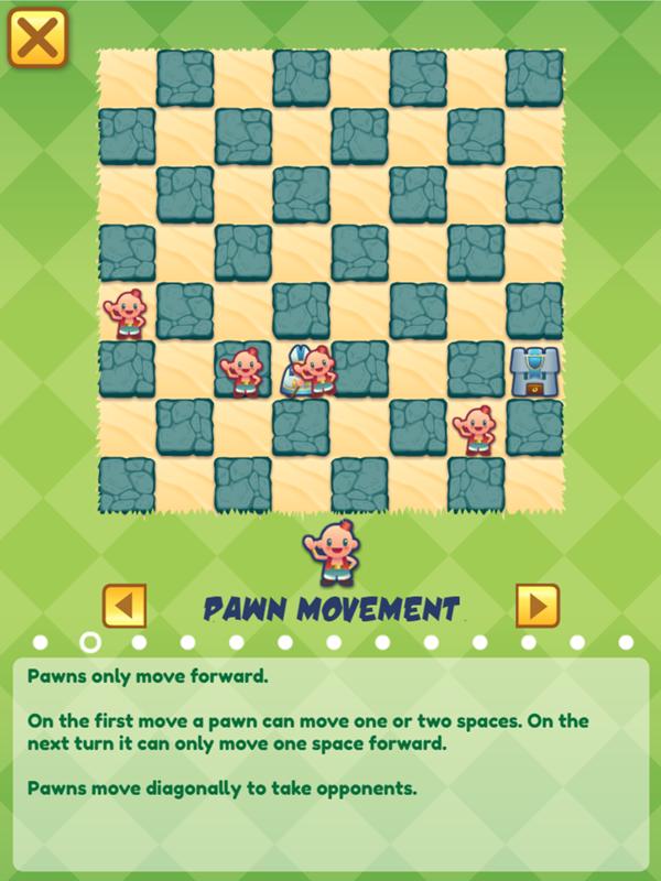 Junior Chess Pawn Movement Instructions Screenshot.