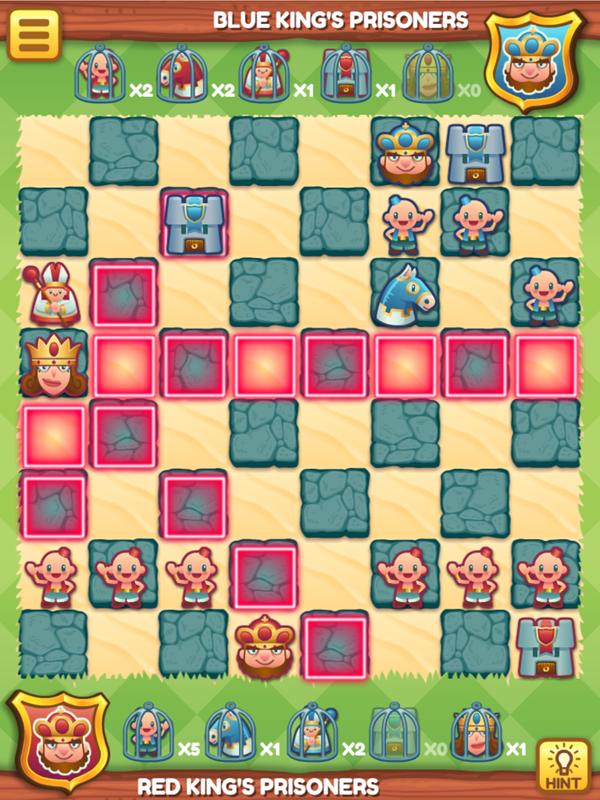 Junior Chess Queen Move Options Screenshot.