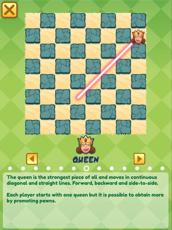 Junior Chess Chess Queen Movement Instructions Screenshot.