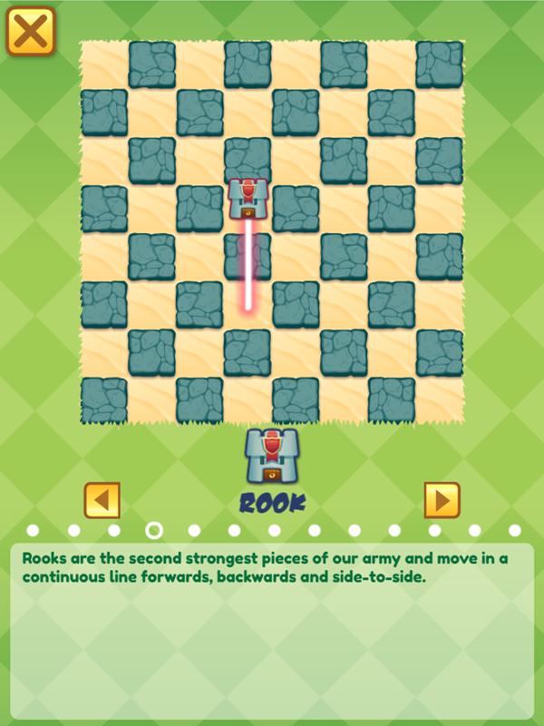 Junior Chess Rook Movement Instructions Screenshot.