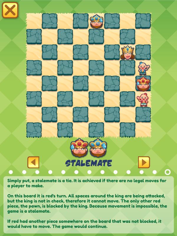 Junior Chess Stalemate Instructions Screenshot.
