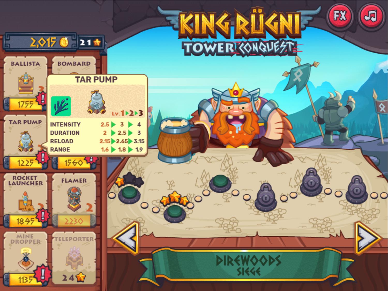 King Rugni Tower Upgrades Screenshot.