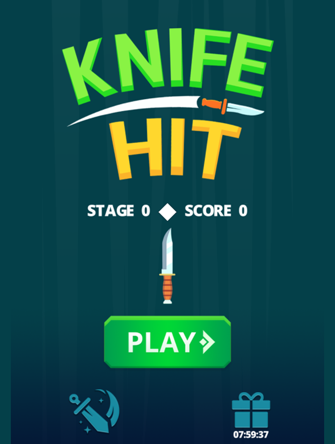 Knife Hit Game Welcome Screenshot.