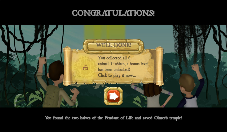 Legends of the Hidden Temple Unlock the Past Game Bonus Level Unlocked Screenshot.