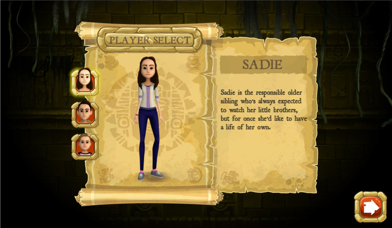 Legends of the Hidden Temple Unlock the Past Game Character Select Screen Screenshot.