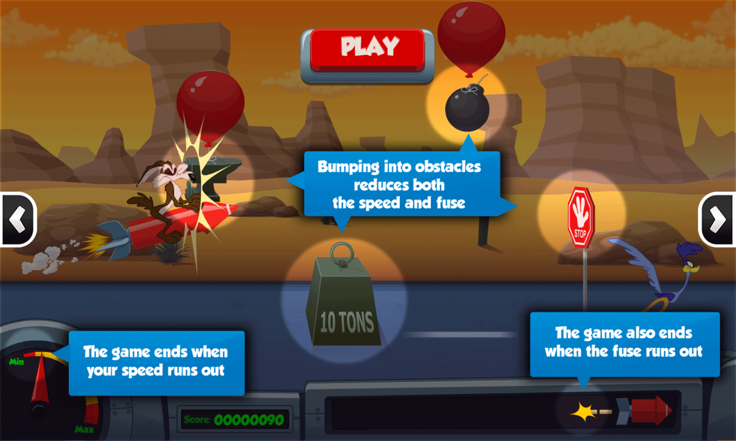 Looney Tunes Acme Rocket Dash Game How To Play Screenshot.