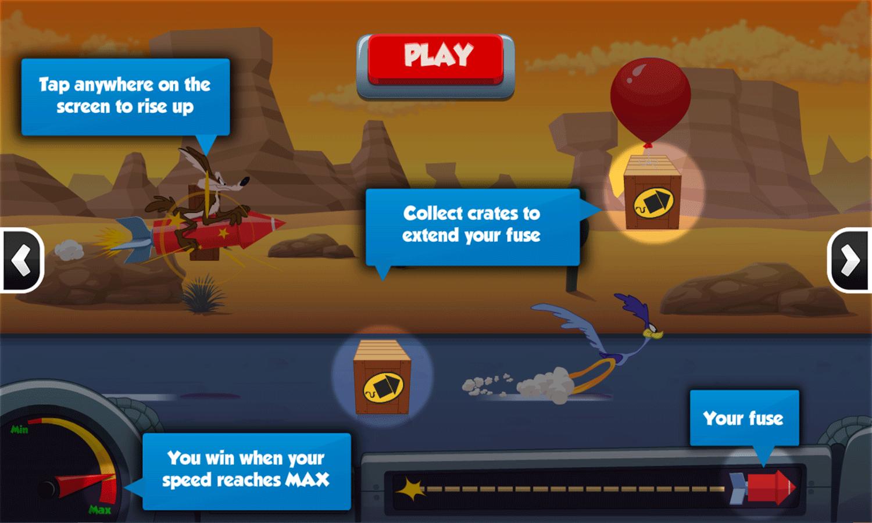 Looney Tunes Acme Rocket Dash Game Instructions Screenshot.