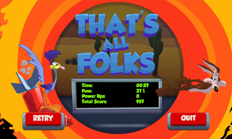 Looney Tunes Acme Rocket Dash Game Score Screenshot.