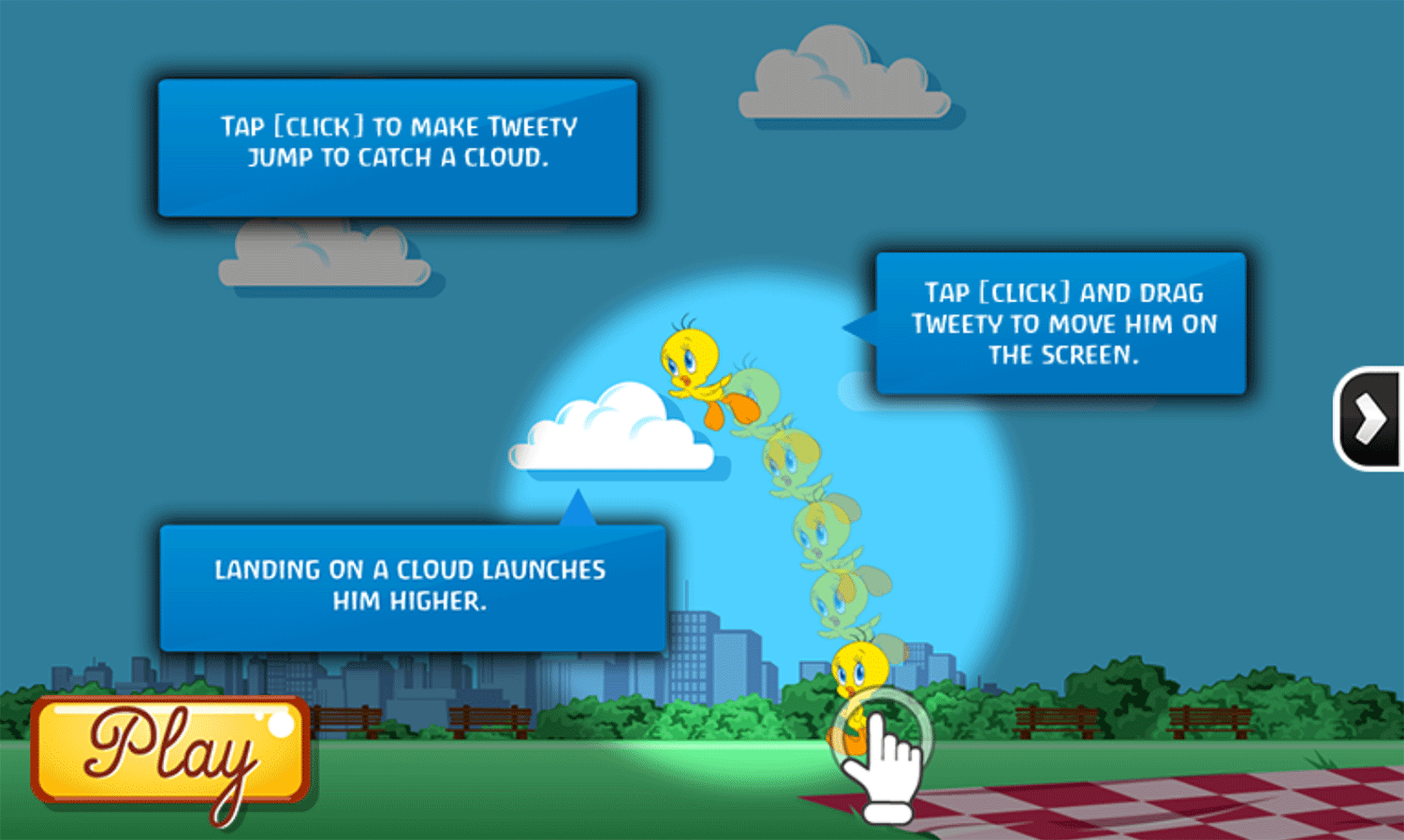 Looney Tunes Tweety Takes Off Game How To Play Screenshot.