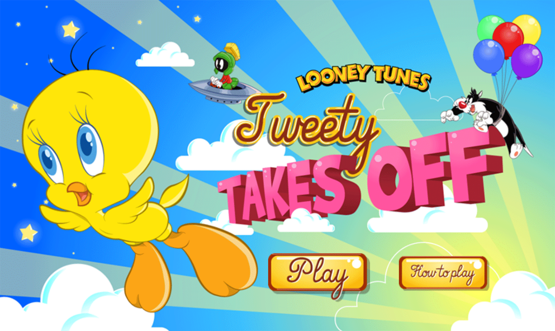 Looney Tunes Tweety Takes Off Game Welcome Screen Screenshot.