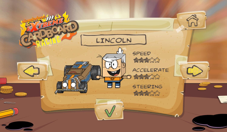 Loud House Extreme Cardboard Racing Game Select Racer Screenshot.