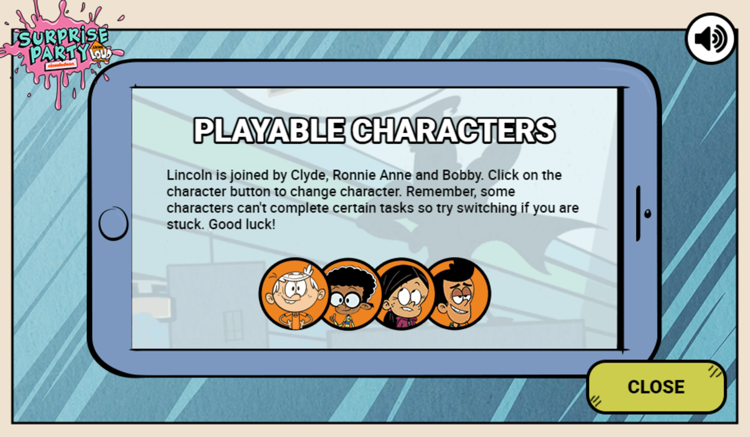 Loud House Surprise Party Game Characters Screenshot.