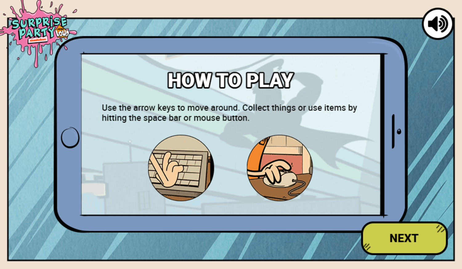 Loud House Surprise Party Game How To Play Screenshot.