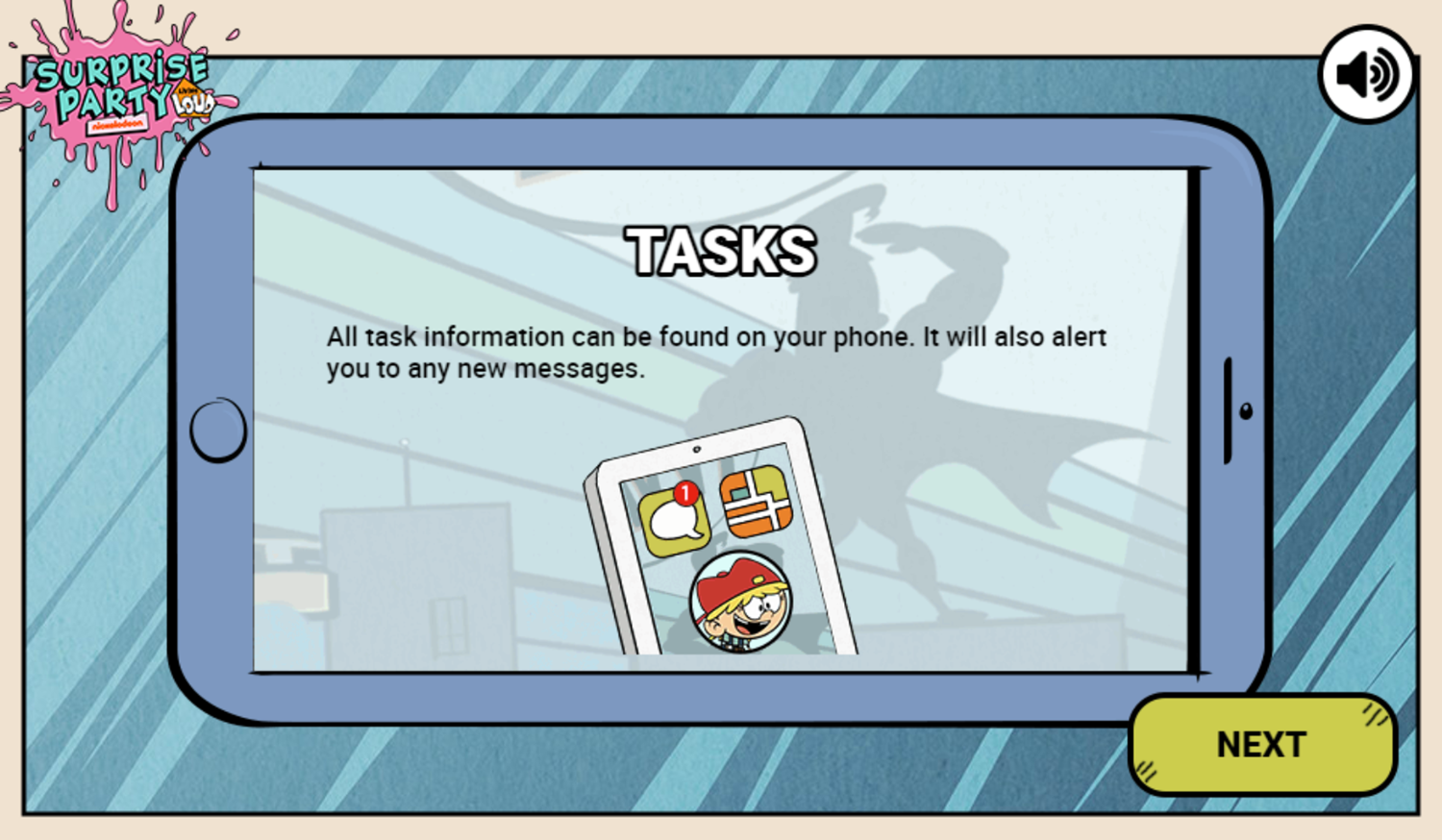 Loud House Surprise Party Game Play Tips Screenshot.