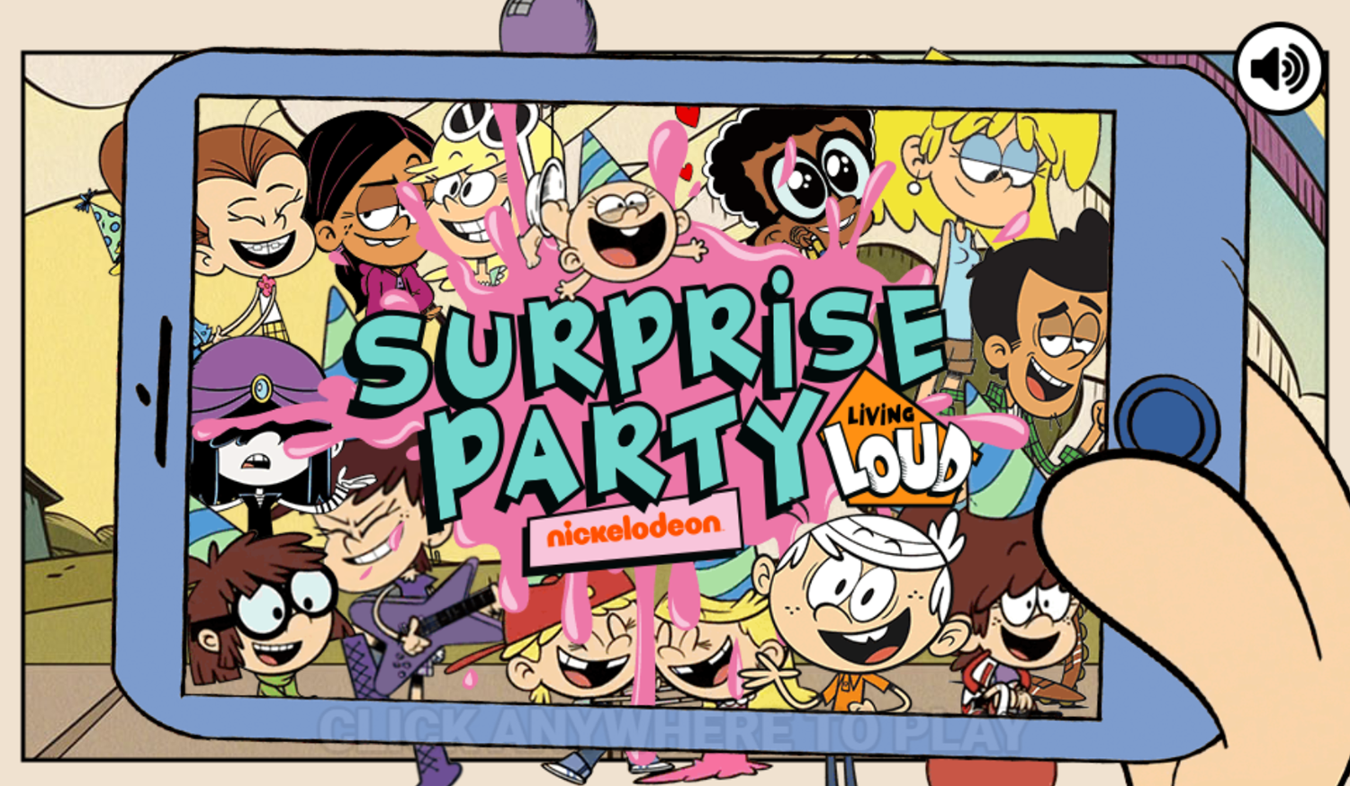 Loud House Surprise Party Game Welcome Screen Screenshot.