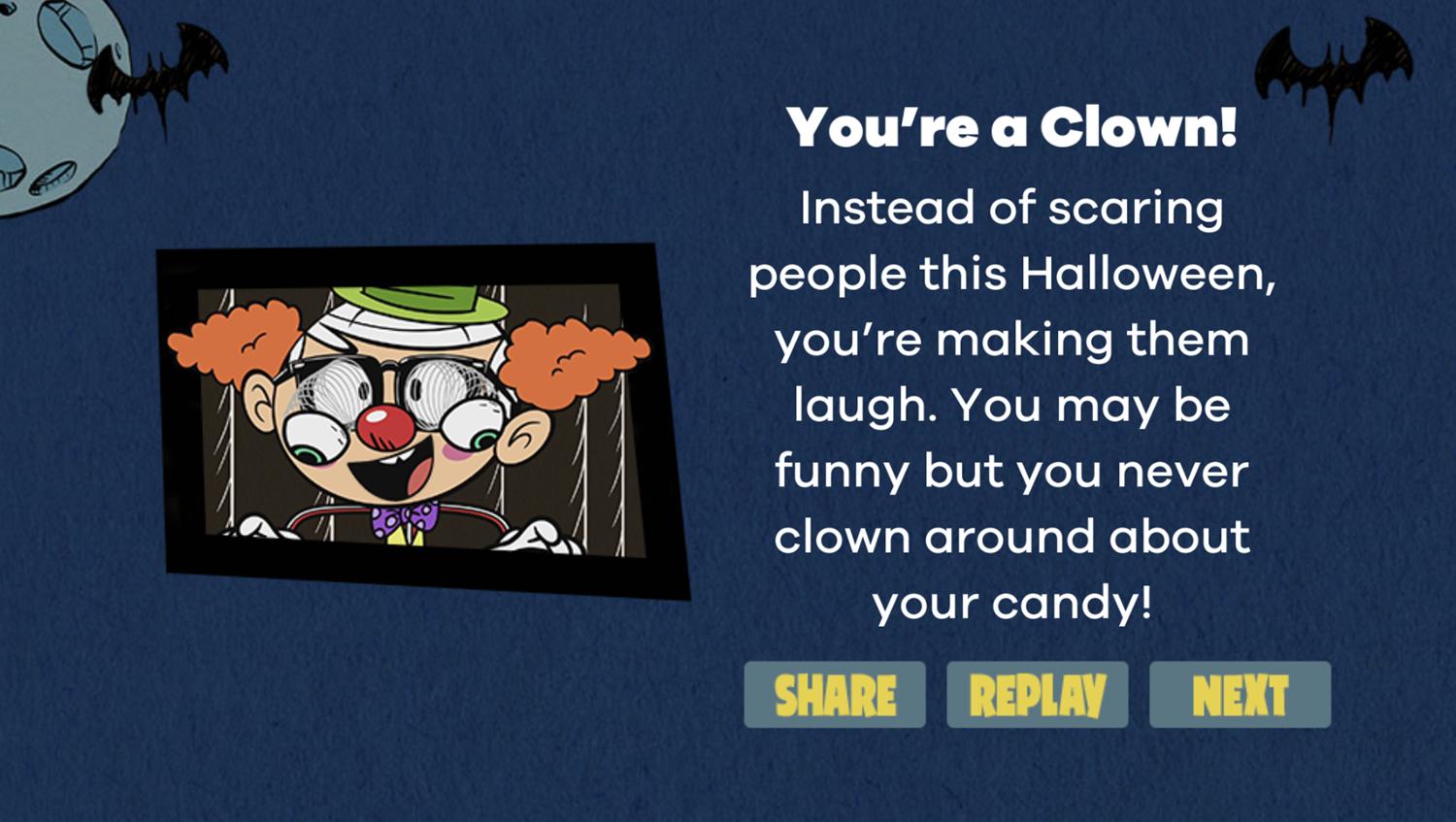 Loud House What's Your Loud House Halloween Costume Game Result Screenshot.
