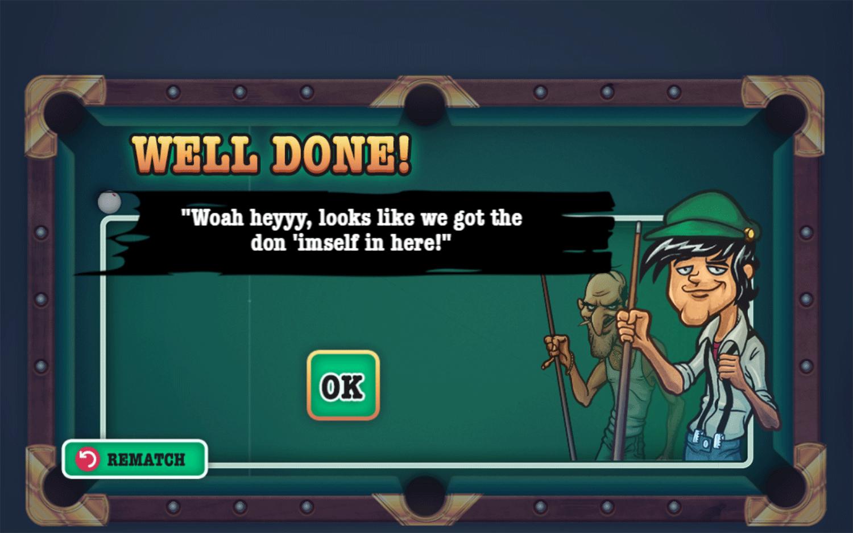 Mafia Billiard Tricks Game Level Complete Screenshot.