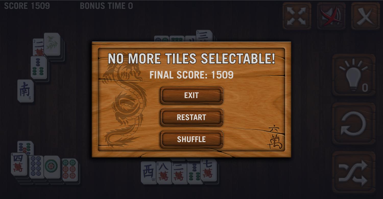 Mahjong Deluxe Game Over Screen Screenshot.