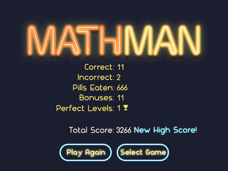 Math Man Jr Game Over Screenshot.