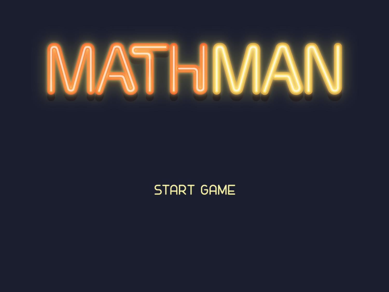 Math Man Game Welcome Screen Screenshot.